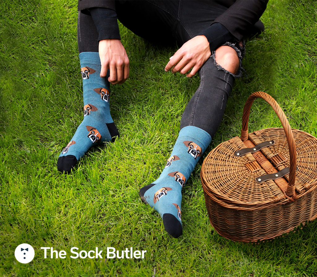 blue bulldog socks from the sock butler