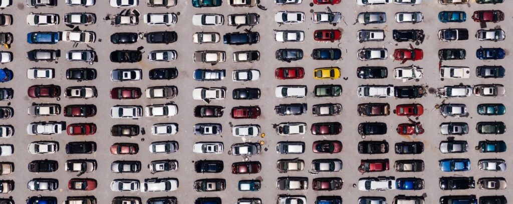 aerial photography shot of cars
