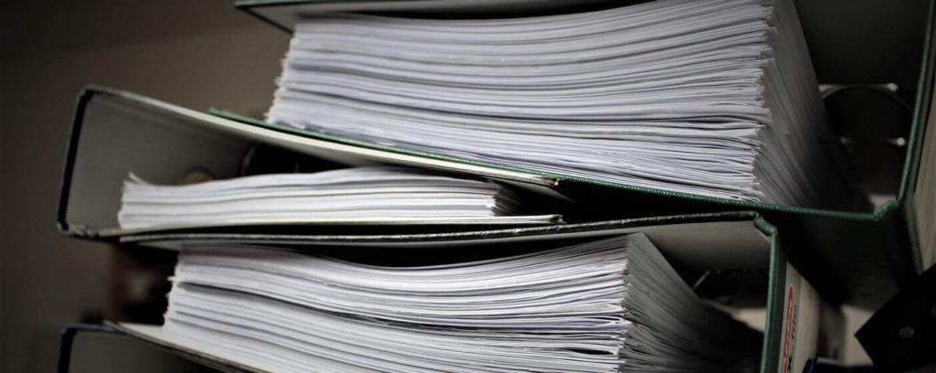 business documents in folders
