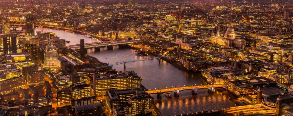london night light aerial photography