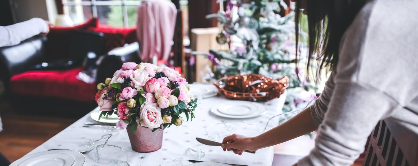 setting up the table at a wedding venue